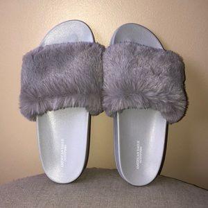 American Eagle Faux Fur Slides